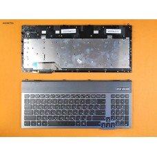 Клавиатура Asus G55 RU (чёрная, с серой рамкой, с подсветкой)