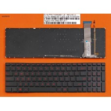 Клавиатура для Asus G552V G552VW G552VX FZ50JX GL752VW, US, (черная, с подсветкой, красный шрифт)