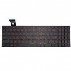 Клавиатура для Asus G552V G552VW G552VX FZ50JX GL752VW, RU, (черная, с подсветкой, красный шрифт, Original)
