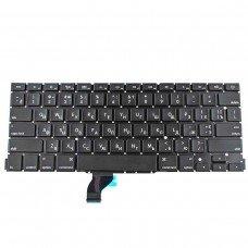 Клавиатура для Apple Macbook Pro A1502, RU, (горизонтальный ENTER, черная, под подсветку)