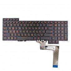 Клавиатура для Asus G751J G751JL G751JM G751JT G751JY, RU/UA, (черная, красный шрифт, ASM14C33USJ442, 0KNB0-E601US00)