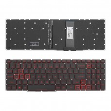 Клавиатура для Acer Nitro 5 AN515-54 AN517-51 Nitro 7 AN715-51, US, (черная, c подсветкой, красный шрифт, NKI15130NE, PK132K11A00, LG5P_N90BRL)